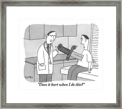 Doctor Says To Patient Who Has A Large Sword Framed Print