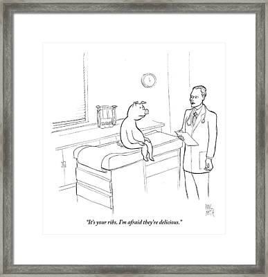 Doctor To Pig Framed Print