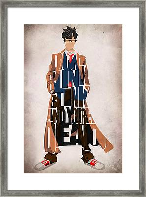 Doctor Who Inspired Tenth Doctor's Typographic Artwork Framed Print by Ayse Deniz