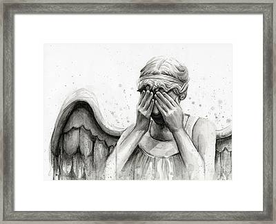 Doctor Who Weeping Angel Don't Blink Framed Print by Olga Shvartsur