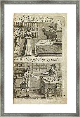 Doctor's Dispensary And Apothecary's Shop Framed Print