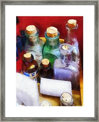 Doctors - Medicine Bottles And Bandages Framed Print