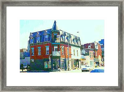 Documenting Local Storefronts Old Mansion St Dominique Depanneur Paintings Montreal Art  Framed Print by Carole Spandau
