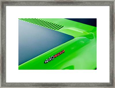 Dodge Challenger 440 Magnum Rt Hood Emblem Framed Print by Jill Reger