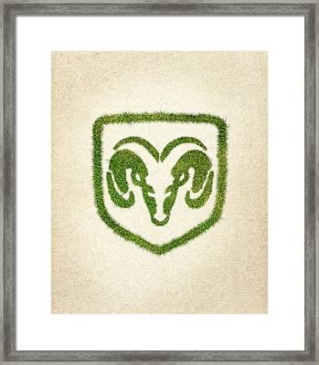 Dodge Grass Logo Framed Print by Aged Pixel