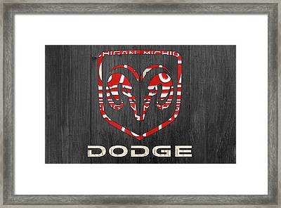 Dodge Vintage Logo License Plate Art Framed Print