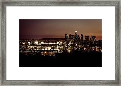 Dodger Stadium At Dusk Framed Print