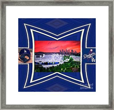 Dodger Stadium Framed Framed Print by Israel  A Torres