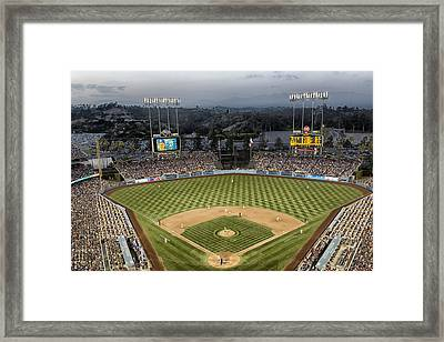 Dodger Stadium In The Evening Framed Print by Mountain Dreams