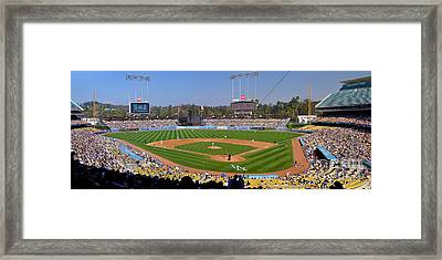 Dodger Stadium Panorama Framed Print by Eddie Yerkish
