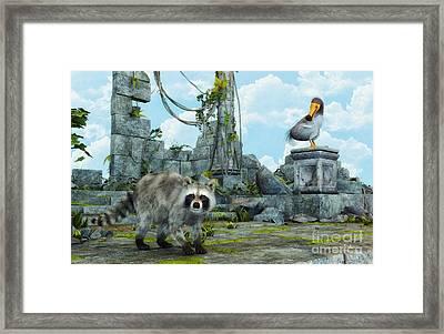 Dodo Meets Raccoon Framed Print