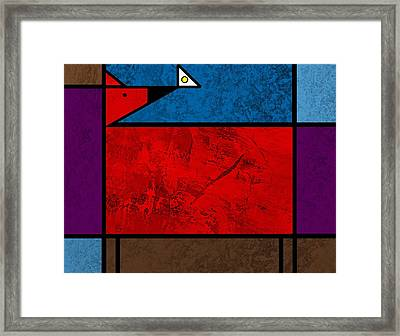 Dog And Butterfly Framed Print by Kenneth North