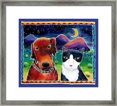 Dog And Cat In The Moonlight Framed Print by Harriet Peck Taylor