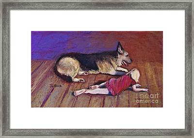 Dog And Child Framed Print by Joyce A Guariglia