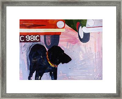 Dog At The Used Car Lot, Rex With Orange Car Gouache On Paper Framed Print by Brenda Brin Booker