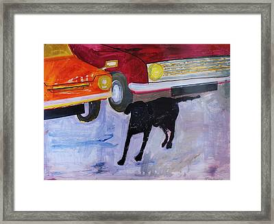 Dog At The Used Car Lot, Rex With Red Car Gouache On Paper Framed Print by Brenda Brin Booker