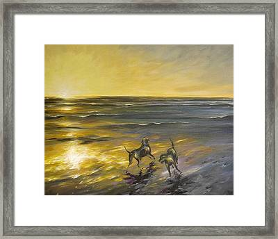 Framed Print featuring the painting Dog Beach by Dina Dargo