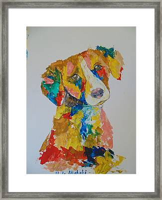 Dog Beautiful Color Framed Print by Abdo Allahabi