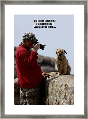 Dog Being Photographed Framed Print by Terri Waters