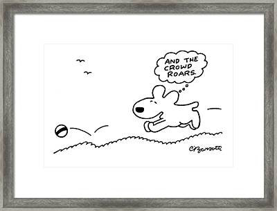 Dog Chases After A Ball Framed Print by Charles Barsotti
