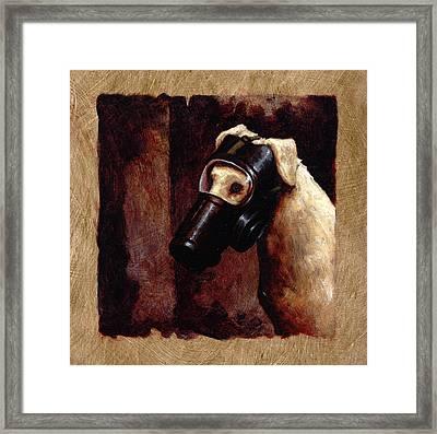Dog Gas Mask Framed Print