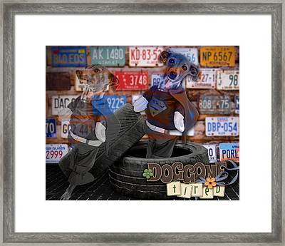 Dog-gone Tired Framed Print