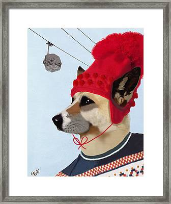 Dog In A Ski Jumper Framed Print by Kelly McLaughlan
