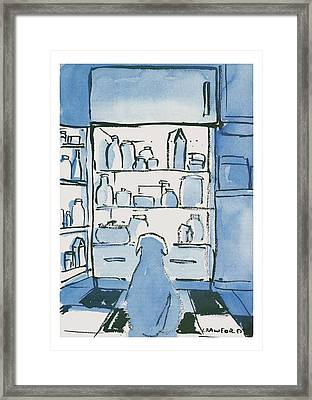 Dog In Front Of An Open Refrigerator Framed Print