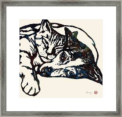 Dog Love With Cat Stylised Pop Art Sketch Poster Framed Print by Kim Wang