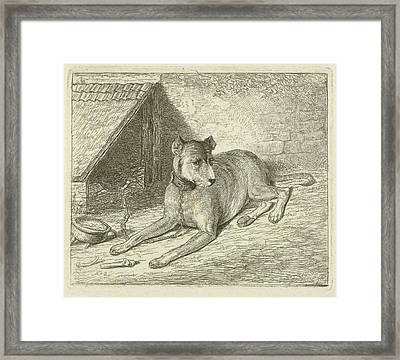 Dog On A Chain In A Doghouse, For Him A Bone Framed Print