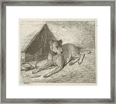 Dog On A Chain With A Doghouse, Johannes Mock Framed Print