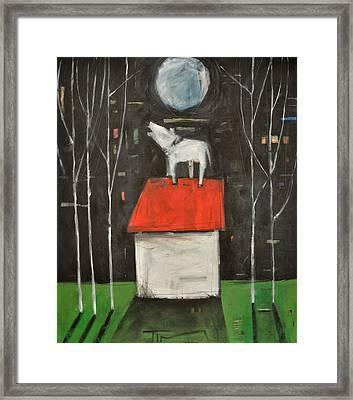 Dog On House Howls At Moon Framed Print