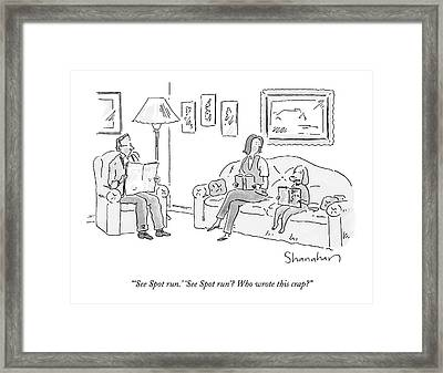 Dog Sitting On Couch Reading A Book Framed Print