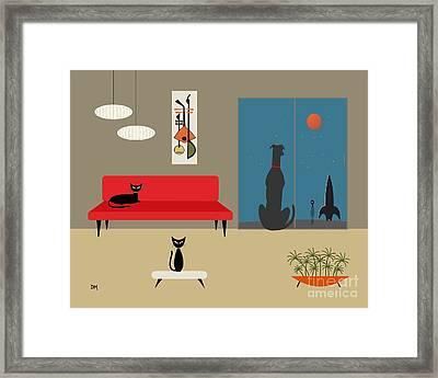 Dog Spies Alien Framed Print by Donna Mibus