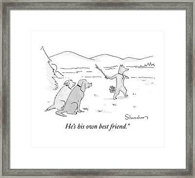 Dog Throwing Stick To Fetch Himself Framed Print by Danny Shanahan