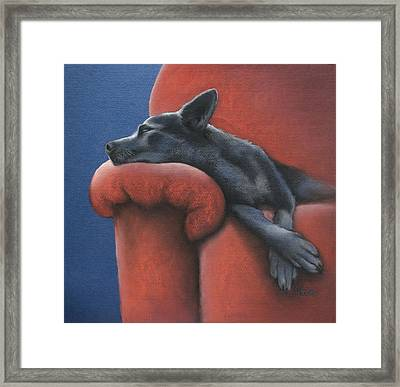 Dog Tired Framed Print by Cynthia House