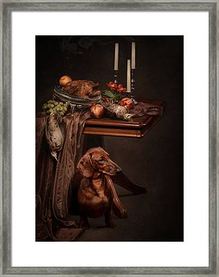 Dog Under The Table Framed Print