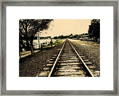Dog Walk Along The Wayzata Train Tracks Framed Print by Susan Stone
