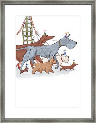 Dog Walker Framed Print by Christy Beckwith
