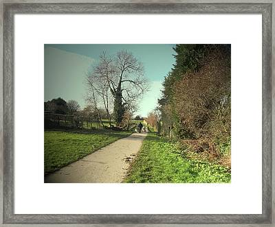 Dog-walker On Former Canal Route, Path, Cycleway And Route Framed Print