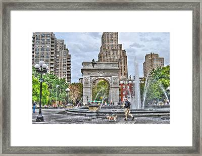 Dog Walking At Washington Square Park Framed Print by Randy Aveille