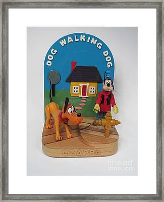 Dog Walking Dog   #102 Framed Print by Bill Czappa
