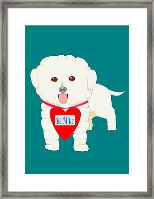 Dog With Be Mine Valentine Framed Print