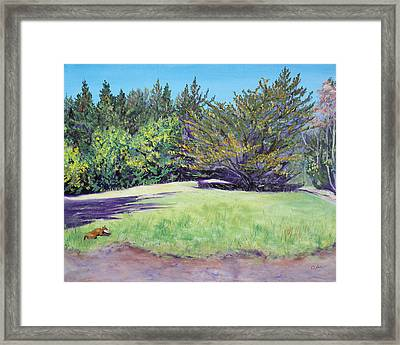 Dog With Bone In Spring Meadow Framed Print by Asha Carolyn Young