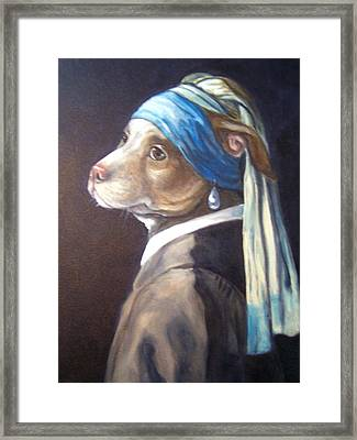 Dog With Pearl Earring Framed Print