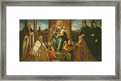 Doge Alvise Mocenigo And Family Before The Madonna And Child Framed Print by Jacopo Robusti Tintoretto