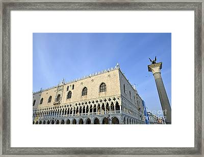 Doges Palace And Column Of San Marco Framed Print by Sami Sarkis