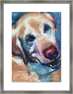 Doggie Breath Framed Print by Maria's Watercolor