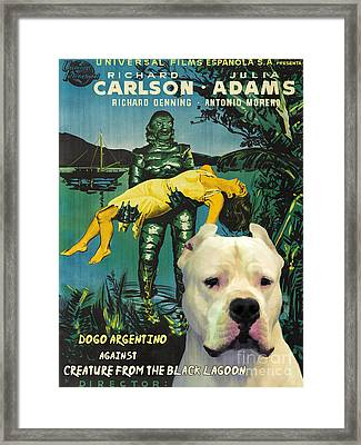 Dogo Argentino Art Canvas Print - Creature From The Black Lagoon Movie Poster Framed Print by Sandra Sij