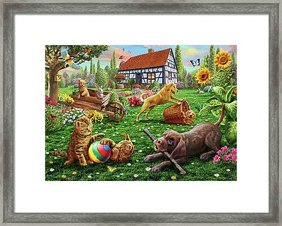 Dogs And Cats At Play Framed Print